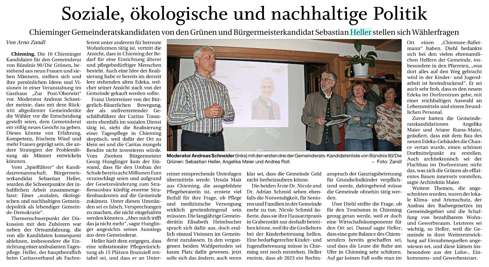 Presseartikel Trostberger Tagblatt 15.02.2020